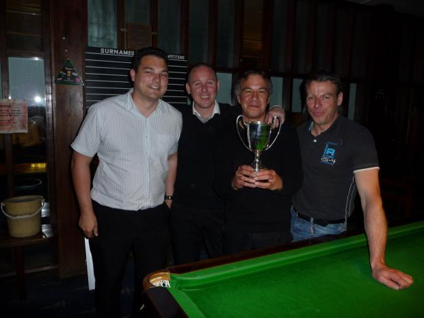 Thame A  proudly display the Stephen Reiss Cup. From left: Russell Jones, Paul Evans, Brendan Ensoll and Barry Barson (reserve)