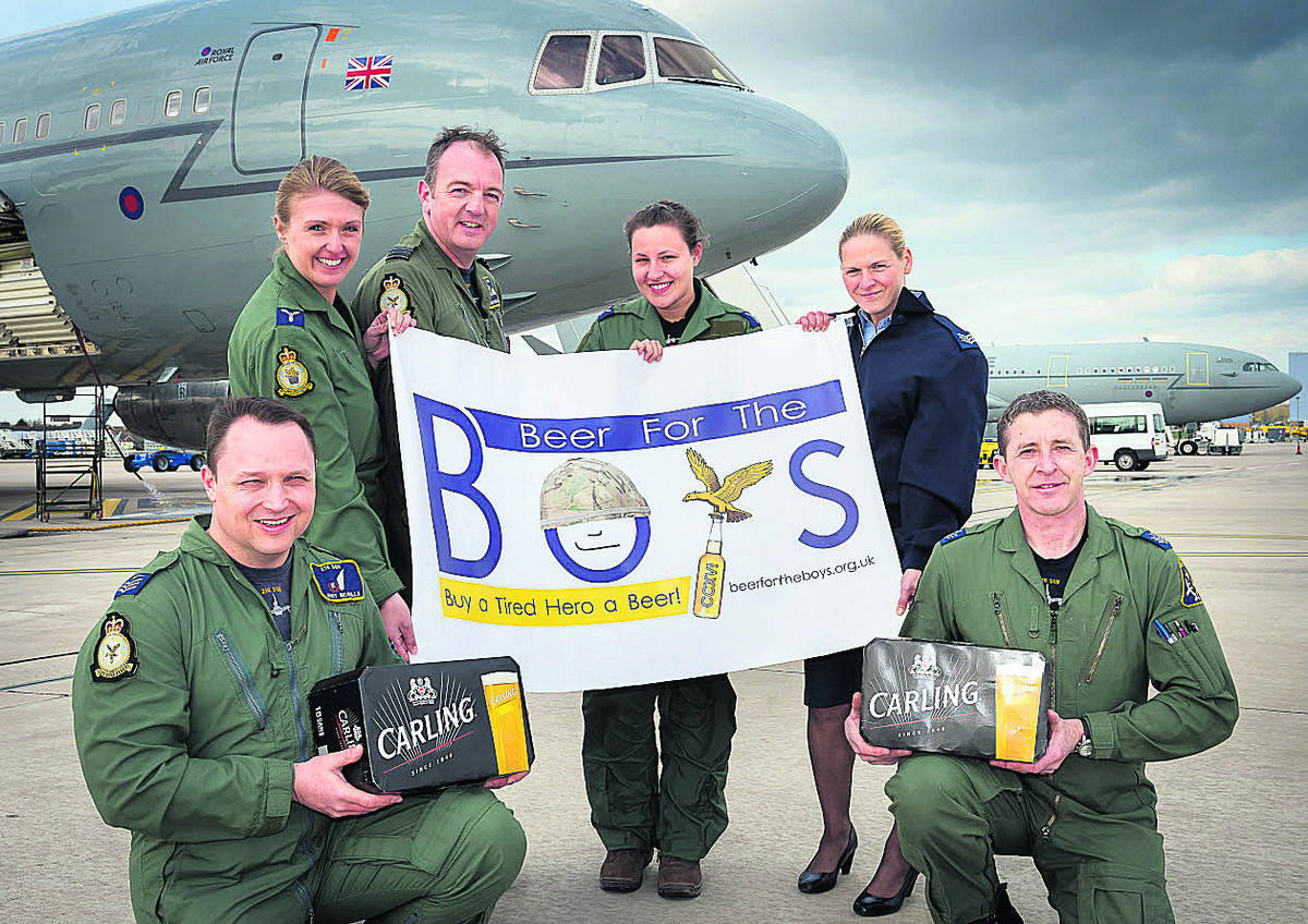 From left, Sergeant Matt Nicholls, 216 Squadron; Senior Air Craftsmen Vicki Holden, 10 Squadron; Wing Commander Pete Morgan, the last officer commanding 216 Squadron; Senior Air Craftsman Daniella Ward, 10 Squadron; Sergeant Marie Fitches, 216 Squadron; a
