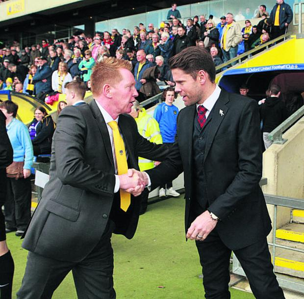 The Oxford Times: James Beattie shakes hands with Gary Waddock