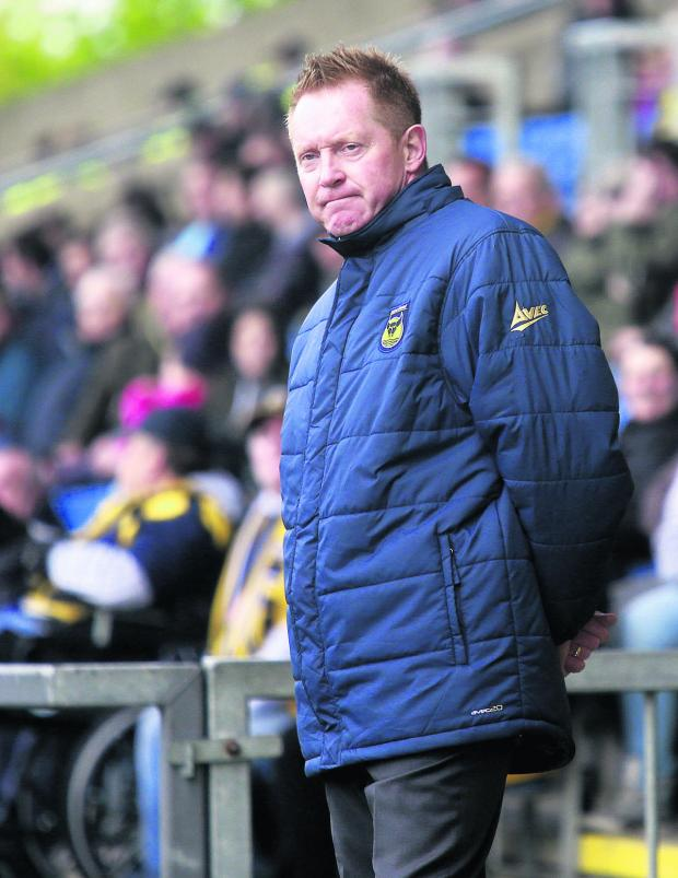 The Oxford Times: Gary Waddock in the dug-out on Saturday