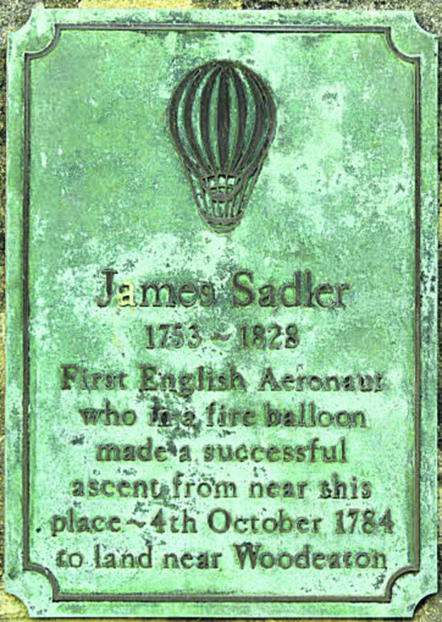The Oxford Times: The plaque recalling James Sadler's flgith