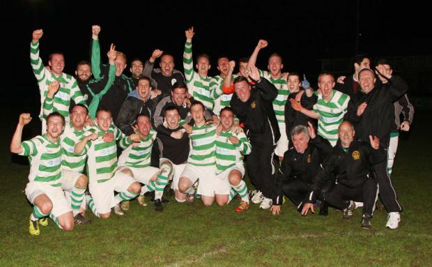 Wantage Town celebrate winning the Uhlsport Hellenic League championship
