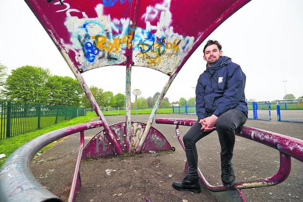 Community worker Jamie Clark pictured near to the proposed site of the new community centre in Rose Hill Recreation Ground