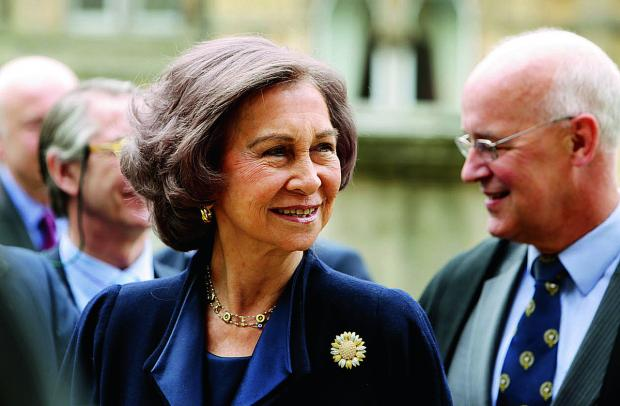 Queen Sofia of Spain arrives at the Taylorian Institute during her visit to Oxford