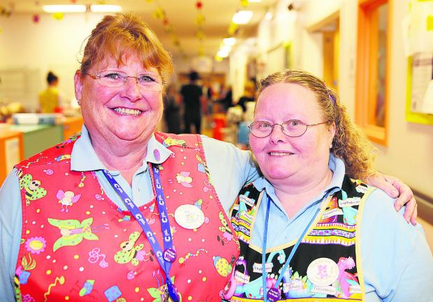Kate Barber, left, with colleague of 17 years Theresa King. Picture: OX66526 Damian Halliwell