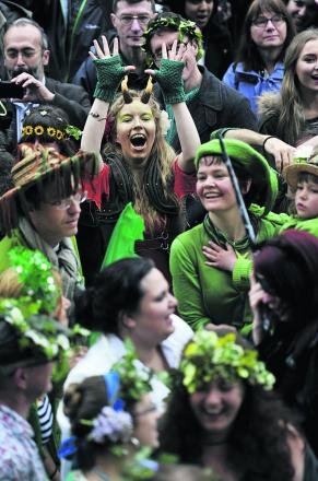 Let's celebrate: Revellers dressed in green for the occasion