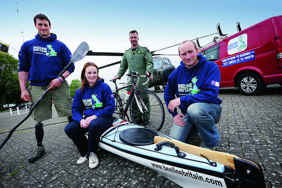 Team Beeline at RAF Benson. From left, Nick Beighton, Tori James, Ian O'Grady and Adam Harmer, who will attempt to navigate Land's End to John O'Groats in a straight line