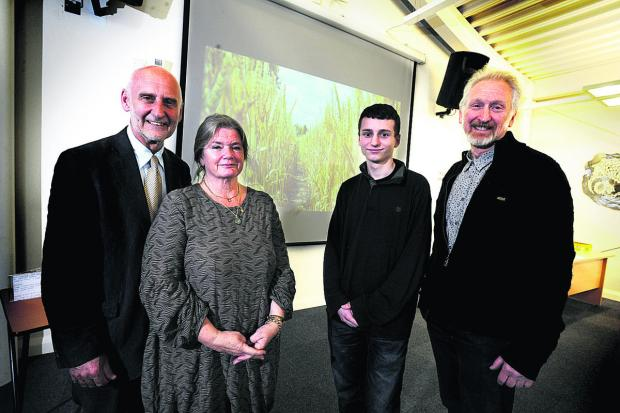 The Oxford Times: HONOURED: From left, Dr John Hemingway and his wife Sue, Cameron Small and one of the judges Miles Waters