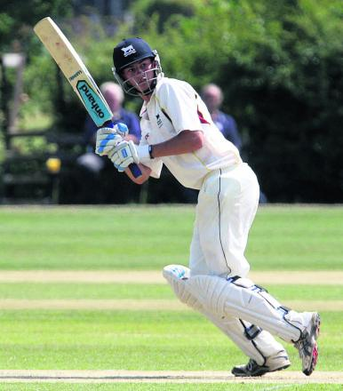 Oxfordshire batsman Lloyd Sabin struck a six through  a dressing room window at Stone
