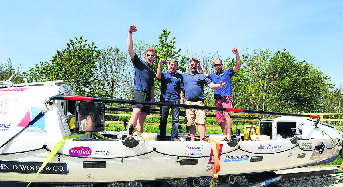 Triumphant: Thomas Alden, right, with his team, from left, Eoin Hartwright, Matthew Collier and Simon Hartwright