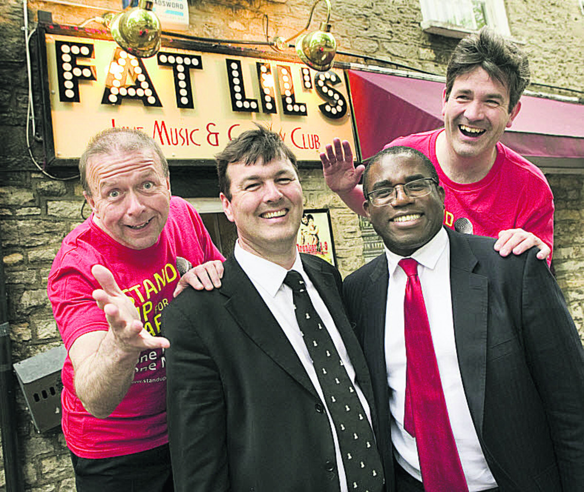From left, comedian Steve Gribbin, Duncan Enright, David Lammy MP and comedian Crispin Flintoff