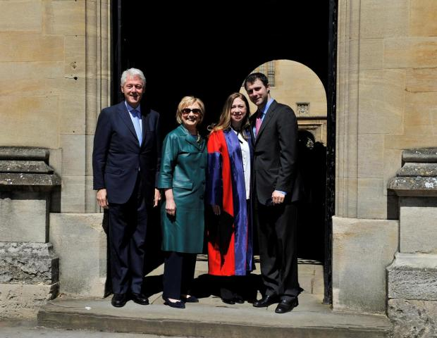 Bill and Hillary Clinton in Oxford for their daughter's graduation