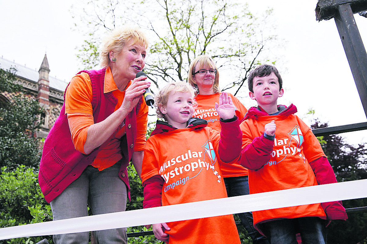 Christine Hamilton starts the race with brothers Harry, five, left, Jack, seven, and their mum Sue Barnley