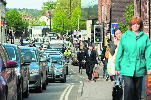 Traffic at a standstill in Hythe Bridge Street