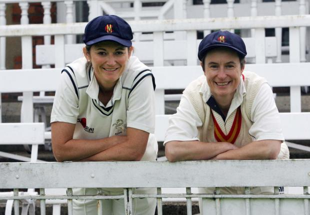 England captain Charlotte Edwards (left) and former England star Claire Taylor before the start of the game in The Parks