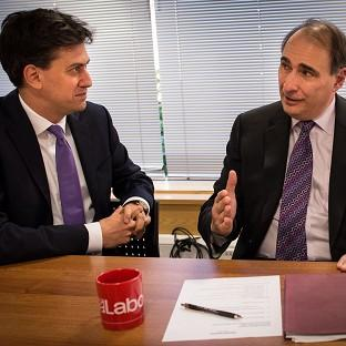 Labour leader Ed Miliband holds a shadow cabinet meeting at Labour Party headquarters in London today accompanied for the first time by his new advisor David Axelrod.