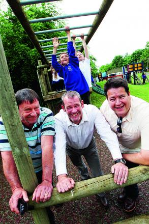 Blackbird Leys Adventure Playground has new equipment that was donated by readers. Pictured from left, Bruce Keildson from UK Bonded Surfacing, Chris Moore from EcoSurface and Neil Koster from UK Bonded Surfacing    Picture: OX67336 Ed Nix