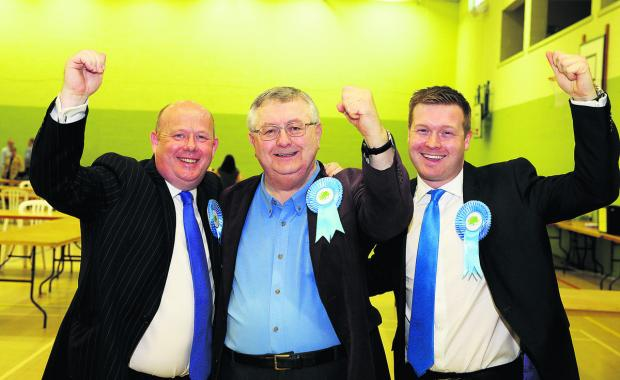 Oxfordshire County Council leader Ian Hudspeth, left, West Oxfordshire District Council lerader Barry Norton, centre, and Liam Walker, chairman of Witney Conservative Future