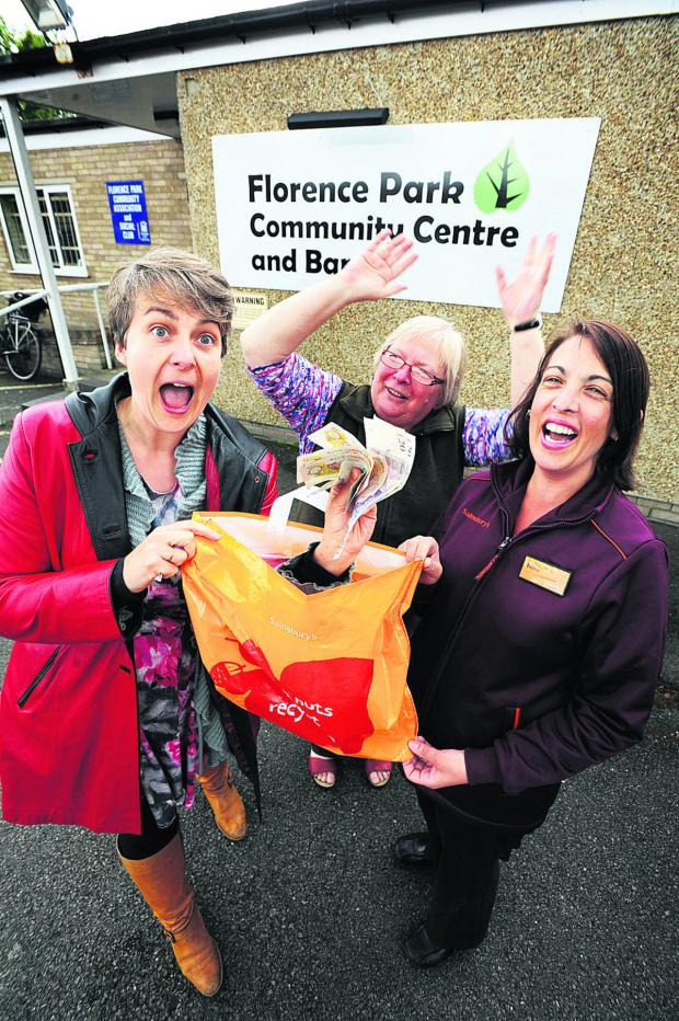 The Oxford Times: Florence Park Community Association trustees' chairwoman Stella Bell, secretary Viv Peto and Debra Johnson, from Sainsbury's Cowley