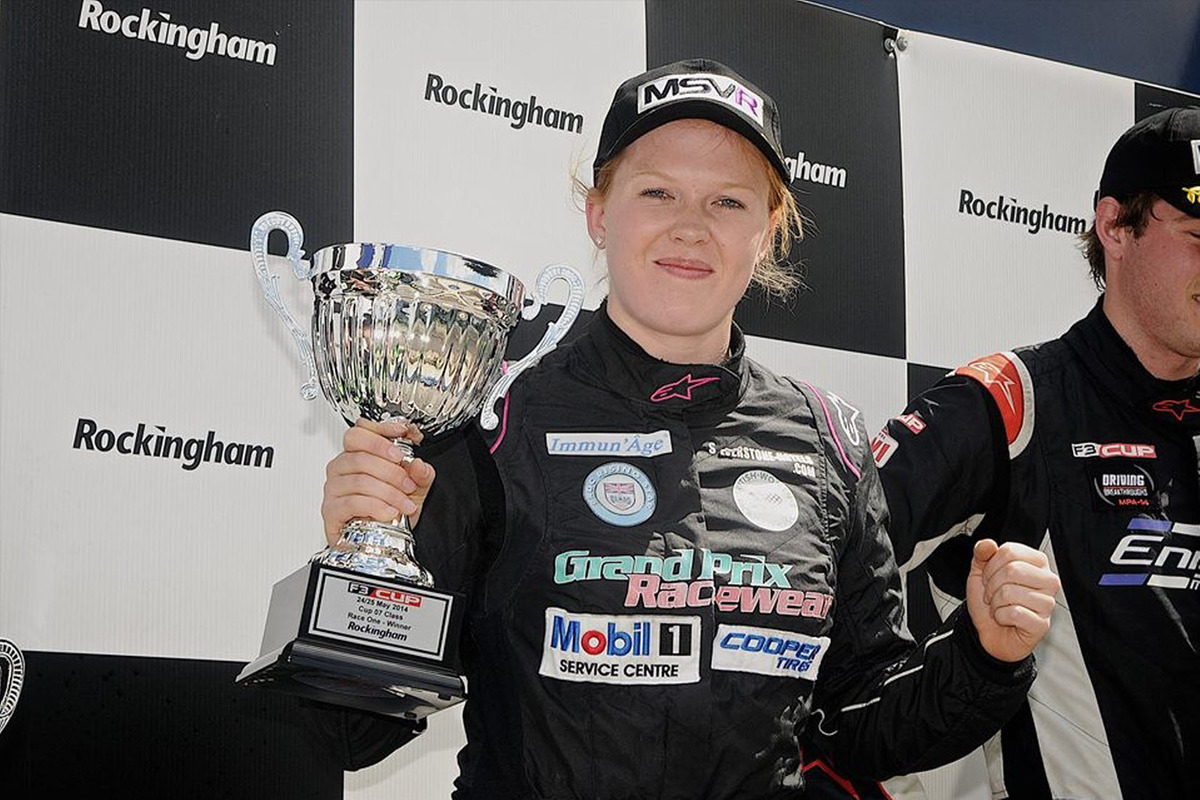 Alice Powell on the podium after two victories in the F3 Cup at Rockingham Picture: Jonathan Hatfield