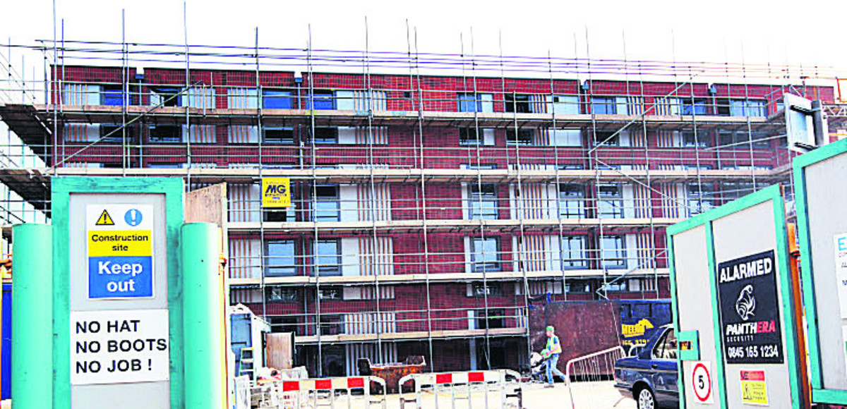 The work starting on the student flats block last year