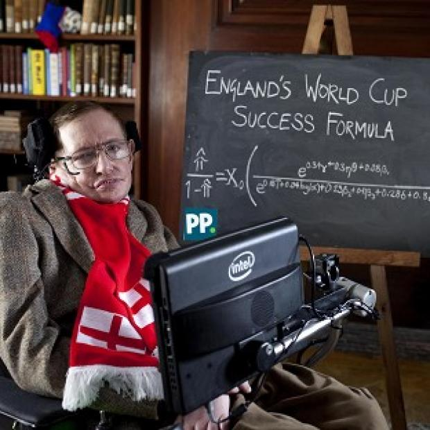 The Oxford Times: Professor Stephen Hawking unveils a new scientific formula to predict the chances of England succeeding in the World Cup, in Cambridge.