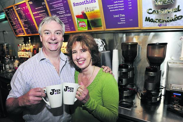 Andrew and Claire Bowen at Java Coffee, which raises money for the homeless. Picture: OX67476 Mark Hemsworth