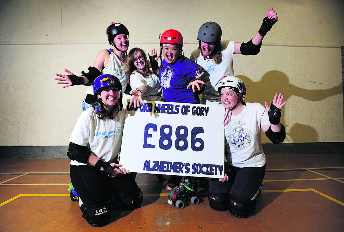 Members of Oxford Wheels of Gory, back row, from left: Liz Holwell, Jodynne Bell, Bicki Ho and Mimi Jones. Front: Keisha Hill, left, and Nic Marlow. Picture: OX67408 Jon Lewis