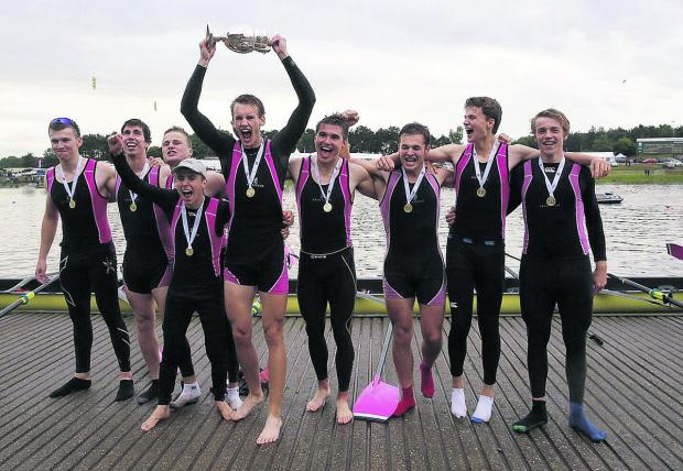 Abingdon's successful eights crew are jubilant after their triumph in the Queen Mother Cup at Nottingham (from left): Tom Digby, Henry Lambe, Jack Walsh, Ed Bryant, Luke Derrick, Luke Wiggins, Jack Squizzoni, James Wooding, Jonathan Lord