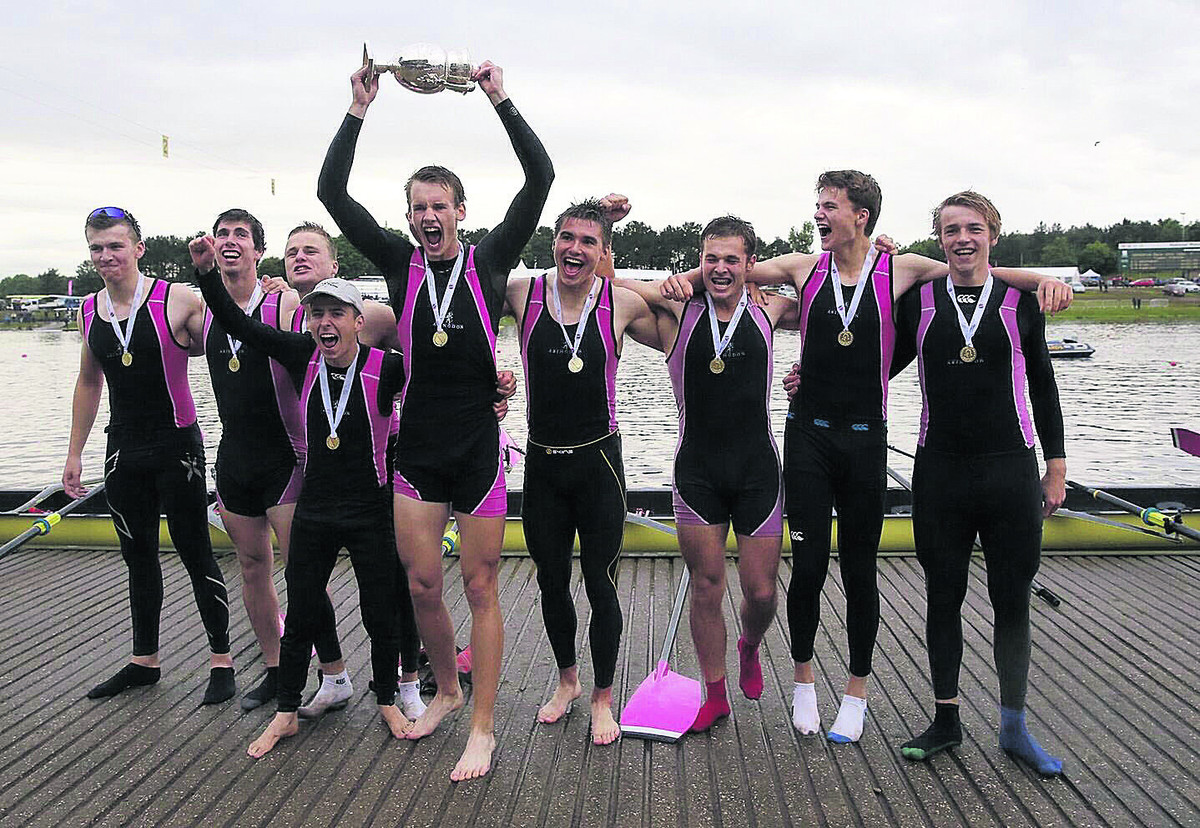 Abingdon School's crew celebrate after retaining their Championship eights title at Nottingham (from left): Tom Digby, Henry Lambe, Jack W