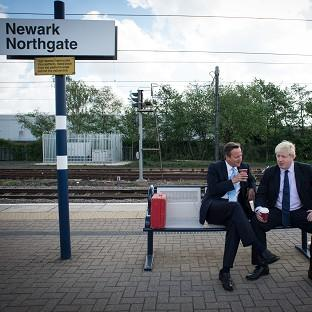 Prime Minister David Cameron and Mayor of London Boris Johnson at Newark railway station following a campaign visit to the town