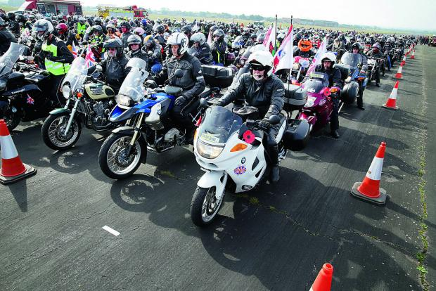 Bikers form up on the runway at Dalton Barracks                                        Pictures: OX67468 Damian Halliwell