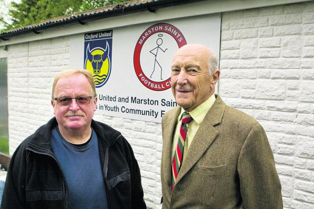 The Oxford Times: Parish council chairman Charlie Haynes with former clerk Roy Garner at the existing pavilion which it is hoped will be replaced. Picture: OX67502 Antony Moore