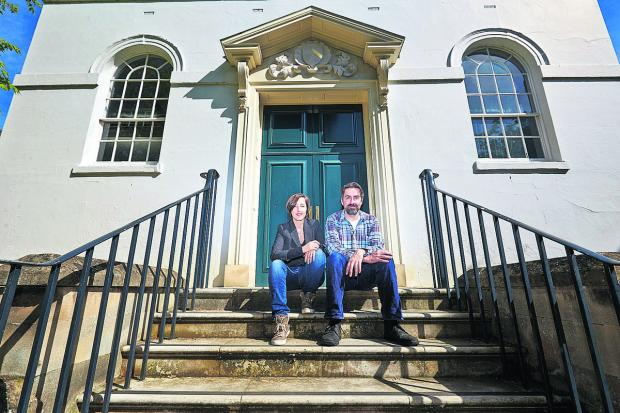 Steph Pirrie and Philip Read outside the Holywell Music Room. Picture: OX67136 Cliff Hide