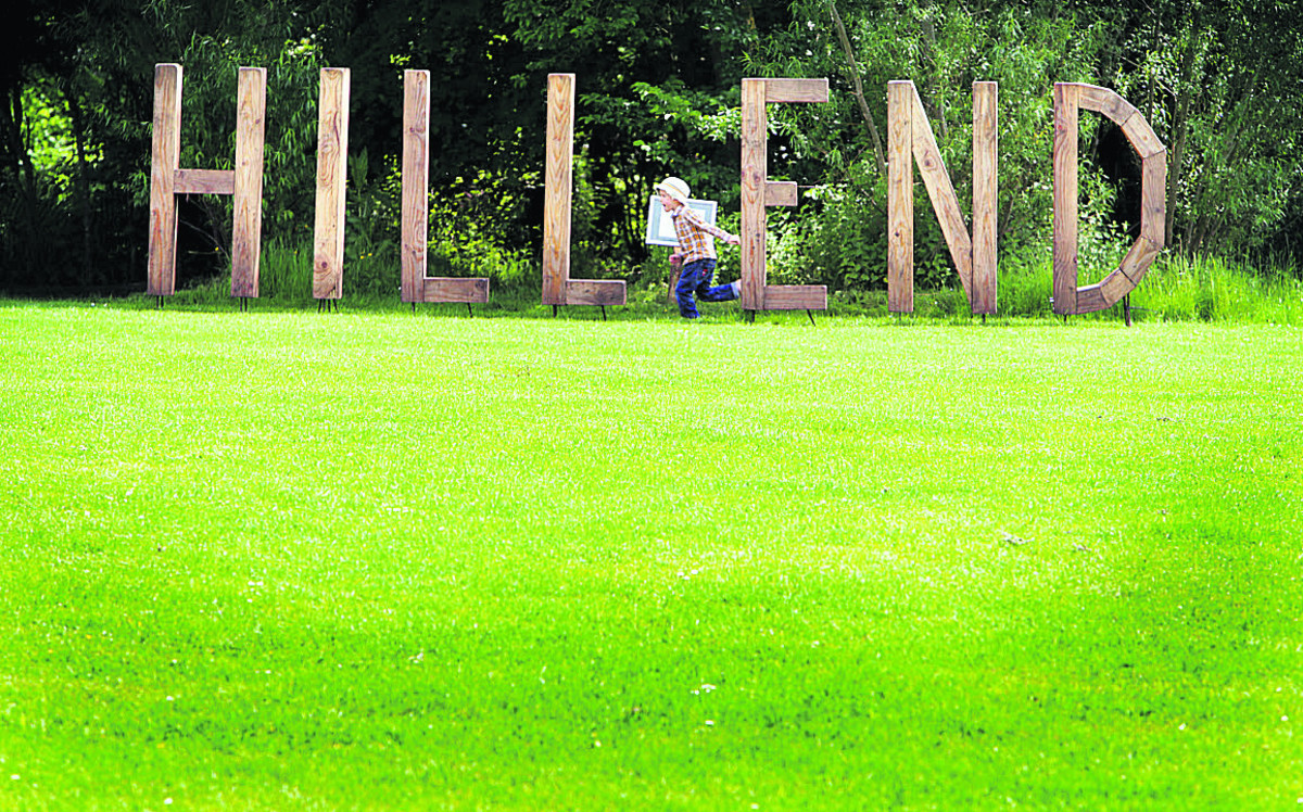 Four-year-old Jacob Leftwich races past Hill End sculpture. Pictures: OX67567 Damian Halliwell