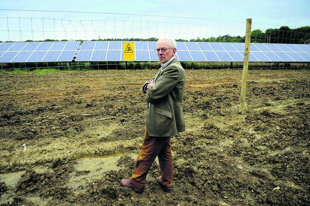 Michael Tyce, from the CPRE, visits the solar farm near Ba