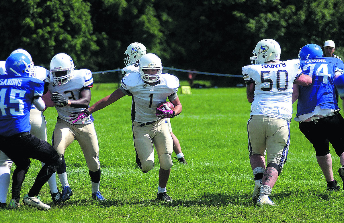 Good work from his teammates allows running back James Ferrigno a clear run to the line