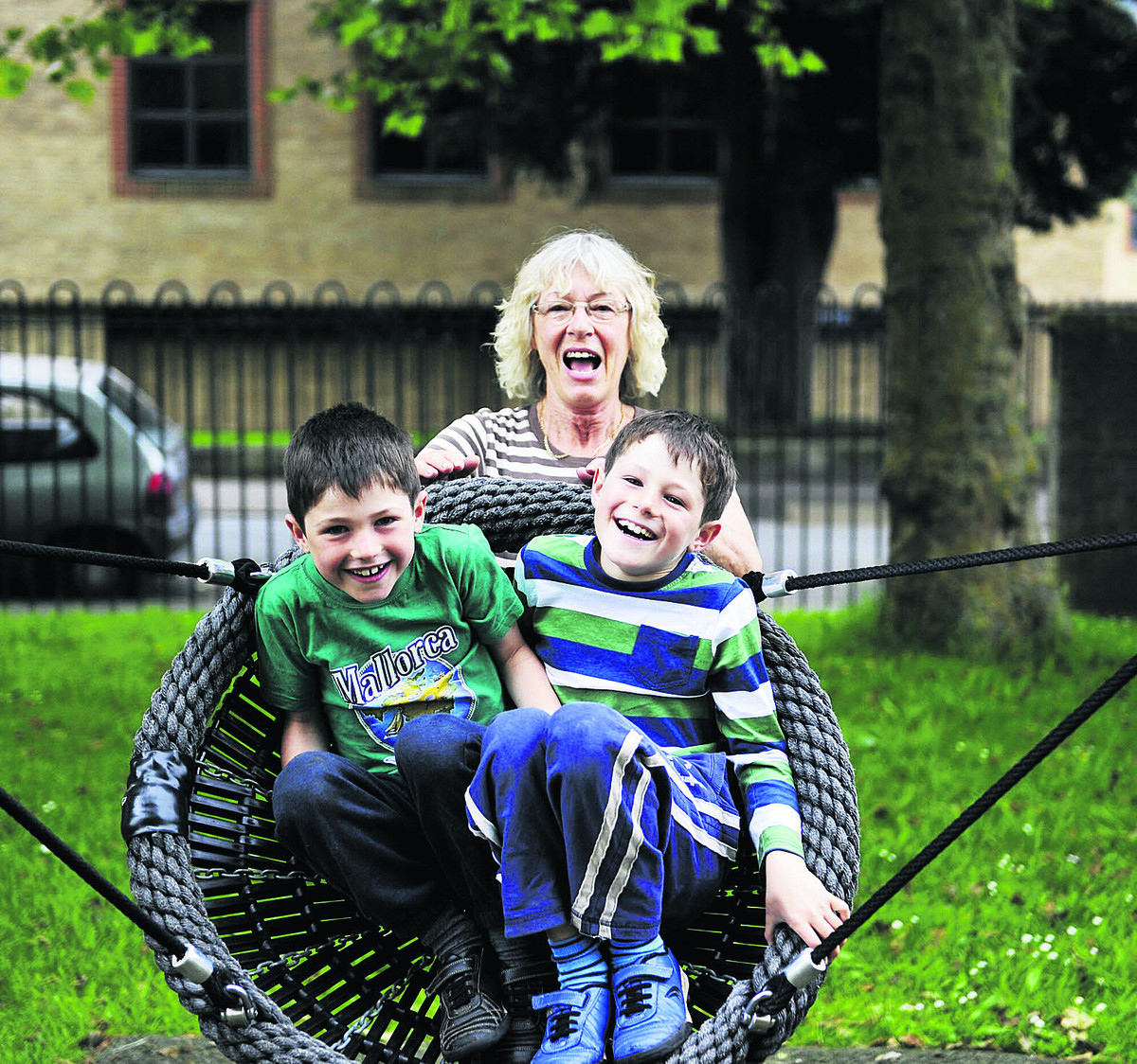 City councillor Susanna Pressel with her grandchildren Euan and Lewis Currie, aged six and eight, in the revamped Jericho play area