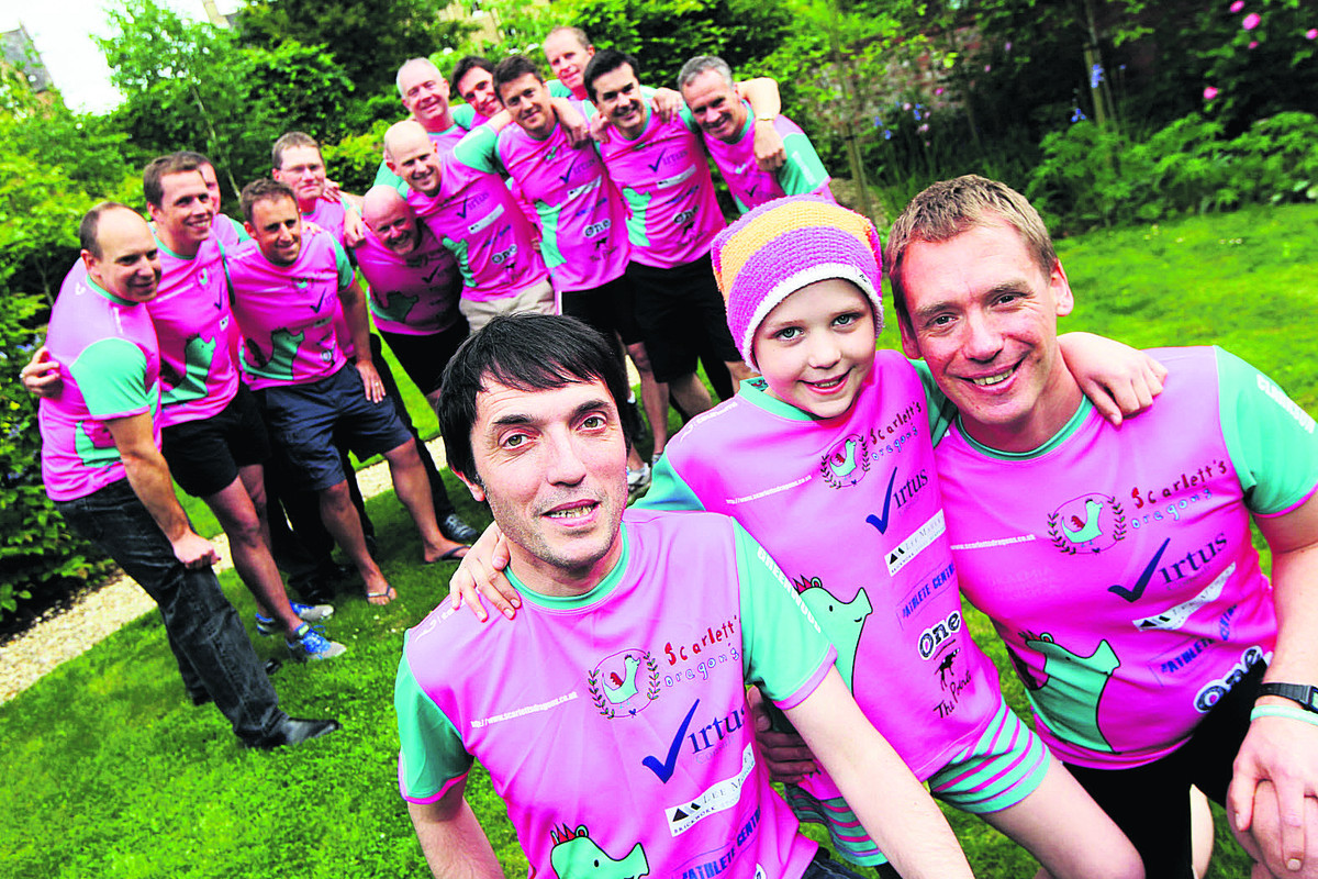 Colin Greenwood, front left, with Scarlett and her dad Dan and other members of the Scarlett's Dragons team tackling the Blenheim Triathlon this weekend for Leukaemia and Lymphoma Research
