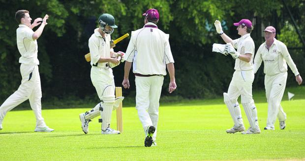 Witney Mills celebrate the dismissal of Blewbury & Wallingford's Tom Newell for seven