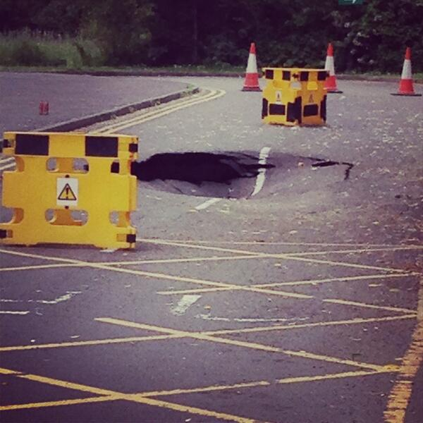 The sink hole, pictured by reader @GrundyOxford