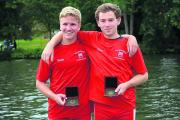 Wallingford's Tom Brock (left) and Dan Wilkinson show off their medals after their J18 pairs victory at the Reading Amateur Regatta