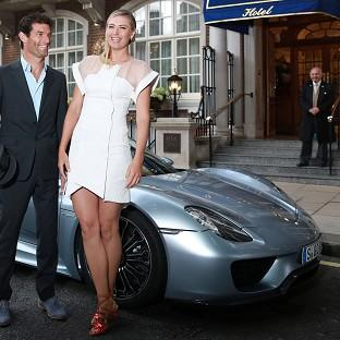 Maria Sharapova is picked up by racing driver Mark Webber  and driven to the Women's Tennis Association (WTA) pre-Wimbledon party