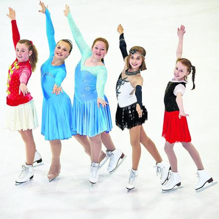 From left, the young skaters in action, Ceri Kearney, 12, Anais Arnould, 13, Juliana Drozd, 14, Emily-Kate Barnett, 12, and Katie Garman, 11. Picture: OX67961 Cliff Hide