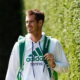 Andy Murray arrives for the start of a prac