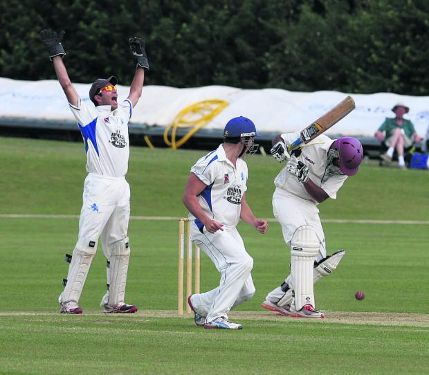 The Oxford Times: Oxfordshire opener Shabaz Alam falls lbw to Devon's Matt Golding.