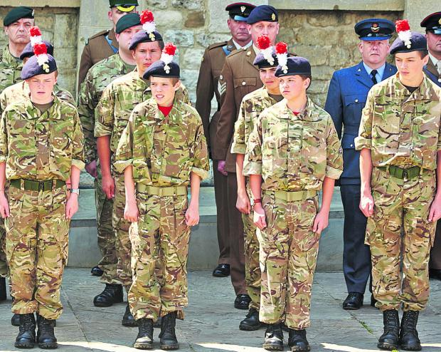 Cadets were among those taking part in the flag raising ceremony at Oxford Castle ahead of Armed Forces Day on Saturday. Pictures: OX68144 Cliff Hyde