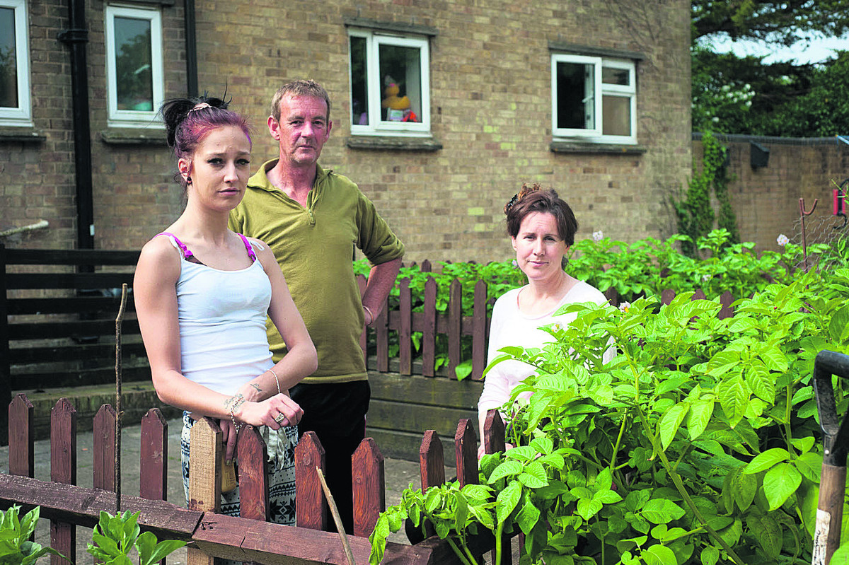 From left, residents Laura Berry, Andrew Samuel and Deborah Cox by the garden                                  	        Picture: OX68142 Andrew Walmsley