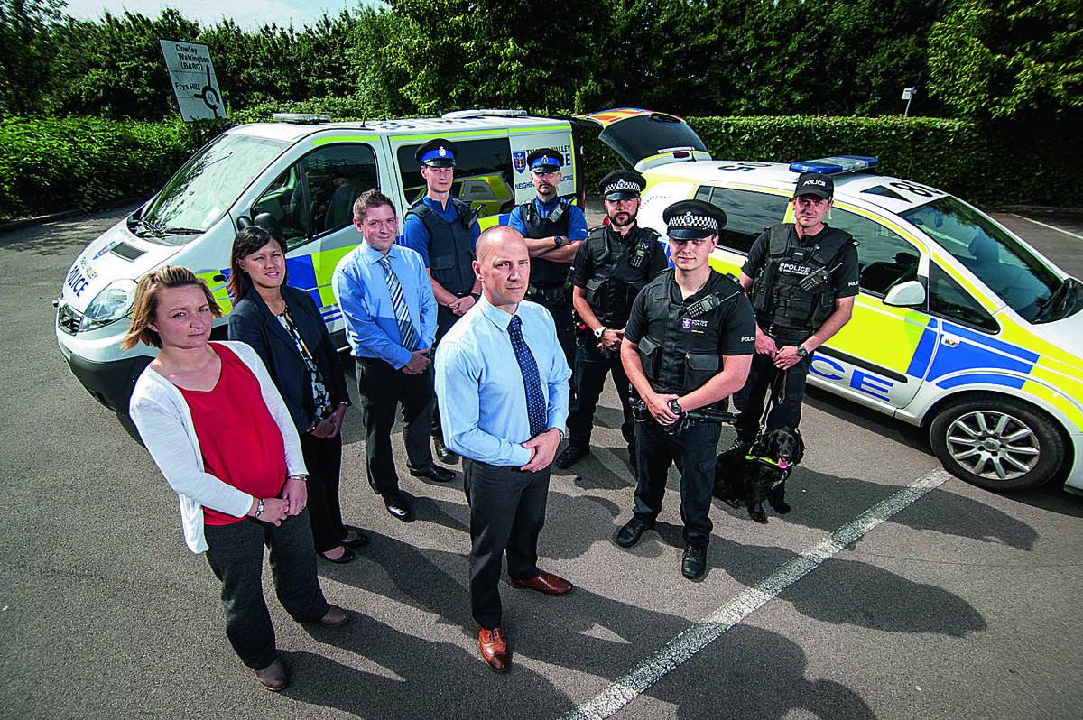 Front centre, Det Sgt Bill Sykes of St Aldate's CID with some of the officers involved in the operation