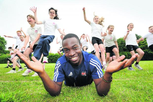 Triple jumper Michael Puplampu visited Longworth Primary School where he was guest of honour at the sports day